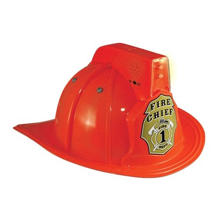 Jr. Fire Fighter Red Helmet w/Lights & Siren Costume Hat Child, Imported By Aeromax Costumes