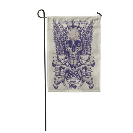 KDAGR Demon Heavy Metal Inspired Skull Eye Tattoo Death Ink Halloween Garden Flag Decorative Flag House Banner 12x18 inch - Halloween Inspired Shots