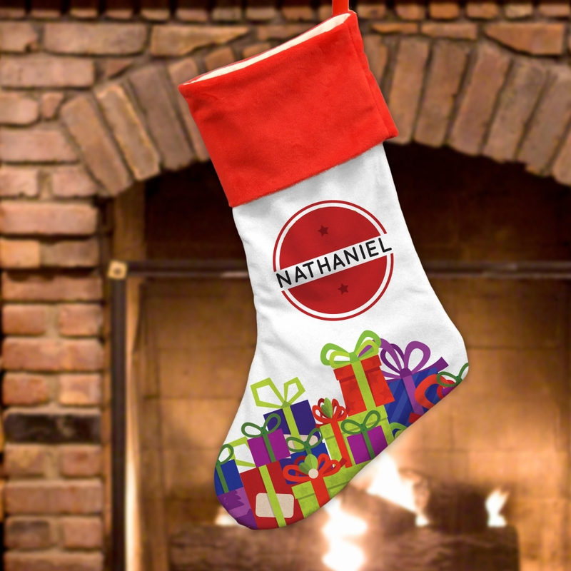 "Custom Stocking Wrapped Gifts Christmas Stocking (Small 7""L x 12 1/2""H or Large 11""L x 18""H)"