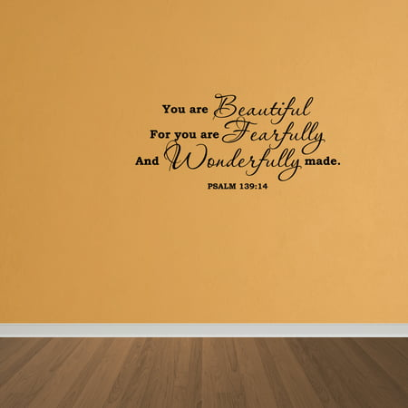 Wall Decal Quote Psalm 139:14 You Are Beautiful Scripture Vinyl ...