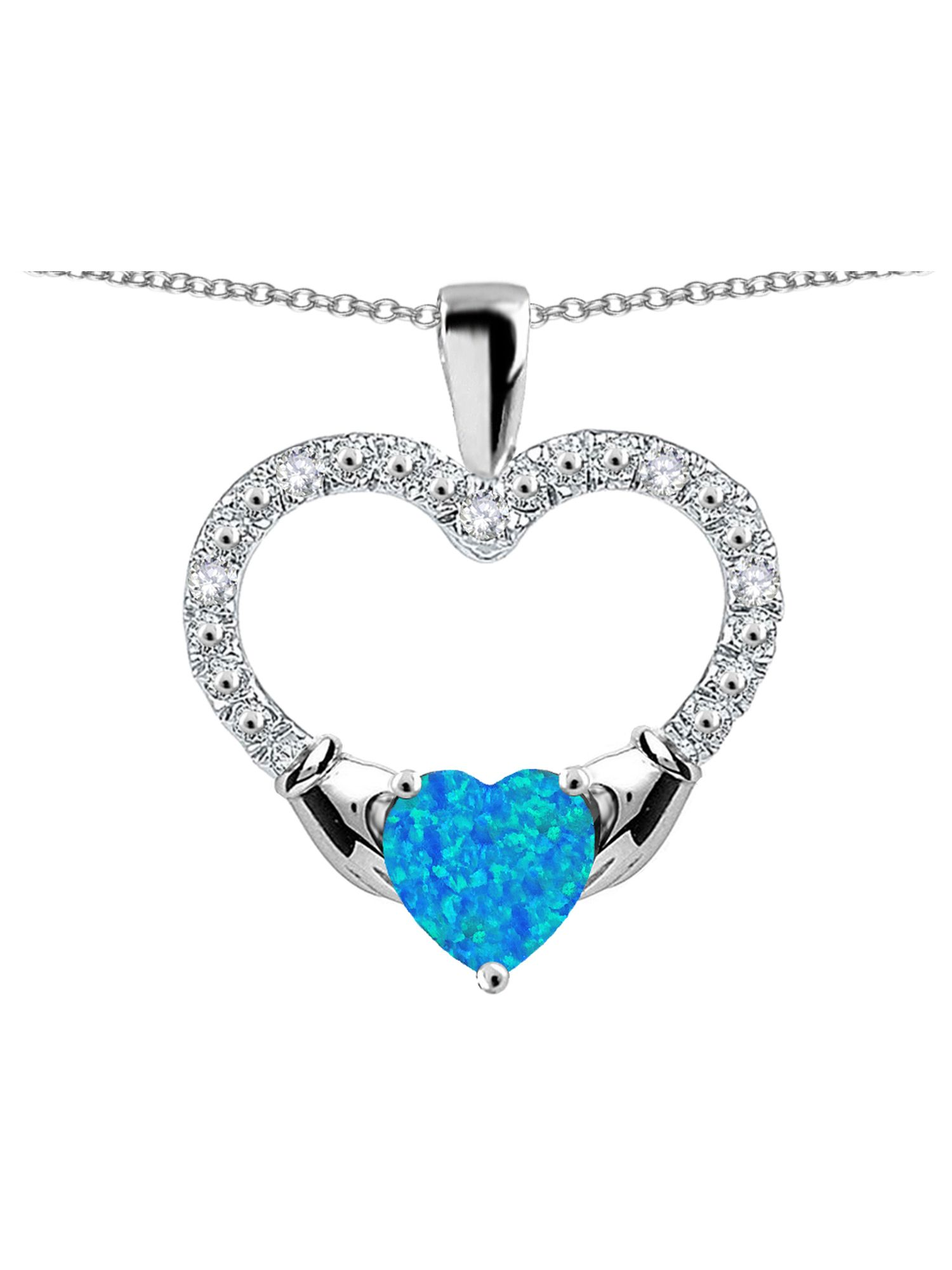 Star K Hands Holding Heart Blue Created Opal Claddagh Pendant Necklace