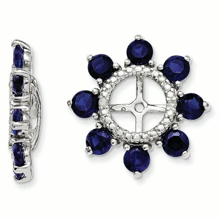 Sterling Silver Rhodium Diam. & Created Sapphire Earring Jacket 1.73grams (L 17mm W 17mm)Sterling silver | Diamond | Rhodium-plated | Created Sapphire