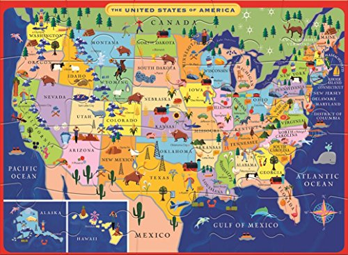 Eeboo United States Usa Map Puzzle For Kids, 20 Pieces