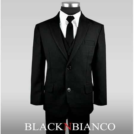 (Black N Bianco Boys Solid Suit and Tie Formal Outift)
