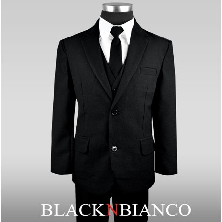 Black N Bianco Boys Solid Suit and Tie Formal Outift](Boys Wool Suits)