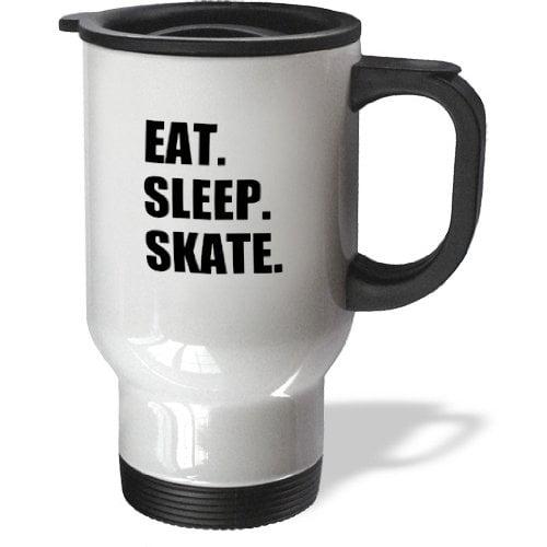 3dRose Eat Sleep Skate skating enthusiast passionate skater black text, Travel Mug, 14oz, Stainless Steel by 3dRose