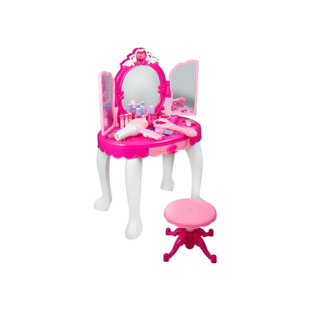 Pink Princess Make Up Vanity Table For Little Girls with Stool, Mirror, Hair Dryer, Pink Make-Up Table To ()