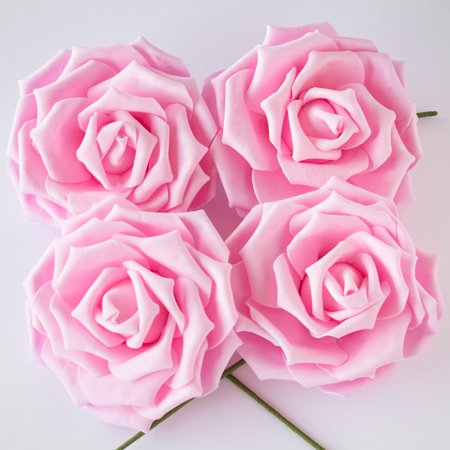 8-Inch Pink Garden Rose Foam Flower Backdrop Wall Decor, 3D Premade (4-PACK) - Foam Flower