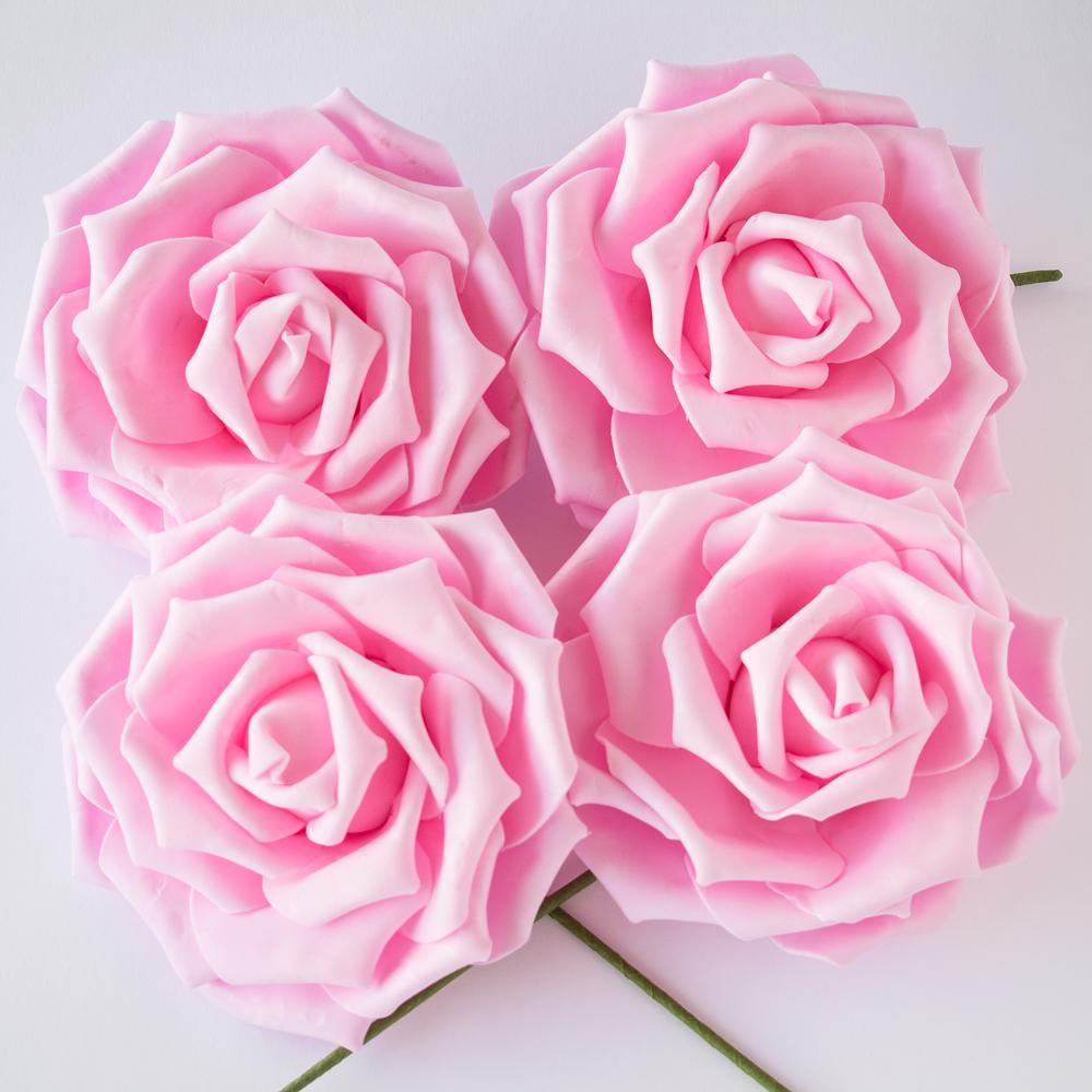 8-Inch Pink Garden Rose Foam Flower Backdrop Wall Decor, 3D Premade (4-PACK)