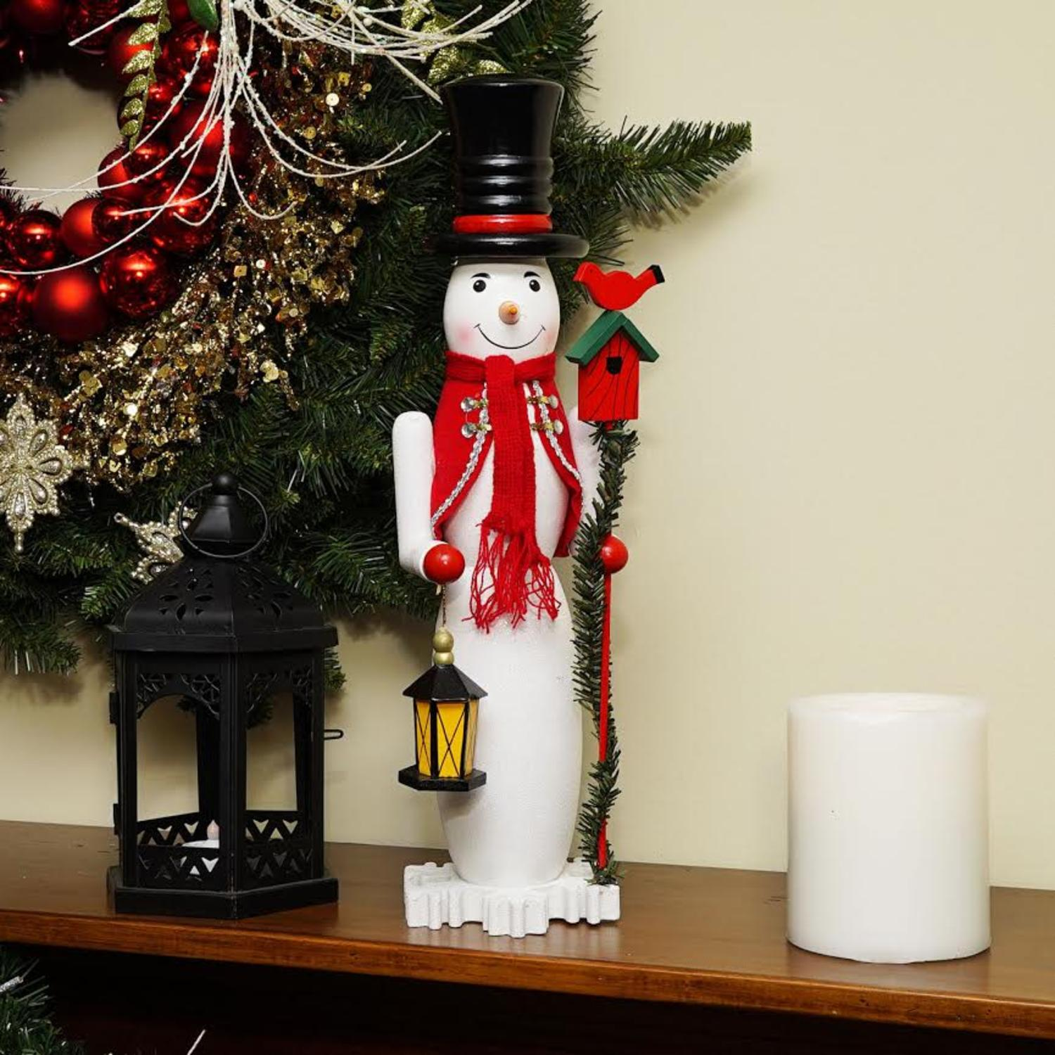 "18"" Decorative White, Red and Silver Glittered Wooden christmas Snowman and Bird Nutcracker"