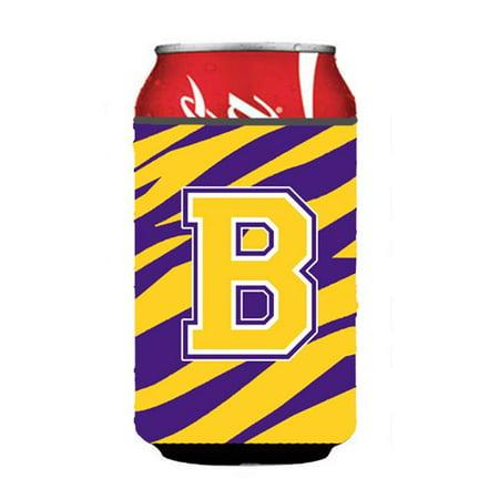 Monogram - Tiger Stripe - Purple Gold Can Or Bottle  Initial B - image 1 de 1