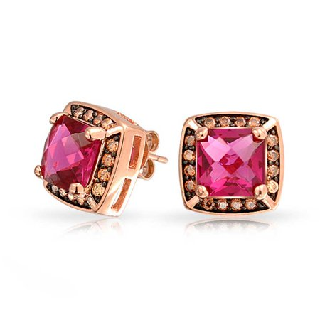 Square Cushion Cut Cubic Zirconia AAA CZ Stud Earrings For Women Simulated Ruby Rose Gold Silver Plated Brass Cubic Zirconia Cushion Earrings