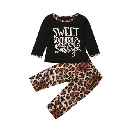 48dcfb854736 Hirigin - Cute 2PCS Toddler Baby Kids Girl Clothes Tops T-shirt Leopard  print Pants Outfits Set 6-12 Months - Walmart.com