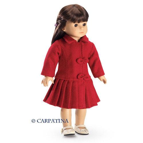 Carpatina Red Wool Christmas Coat fits 18'' American Girl  Dolls