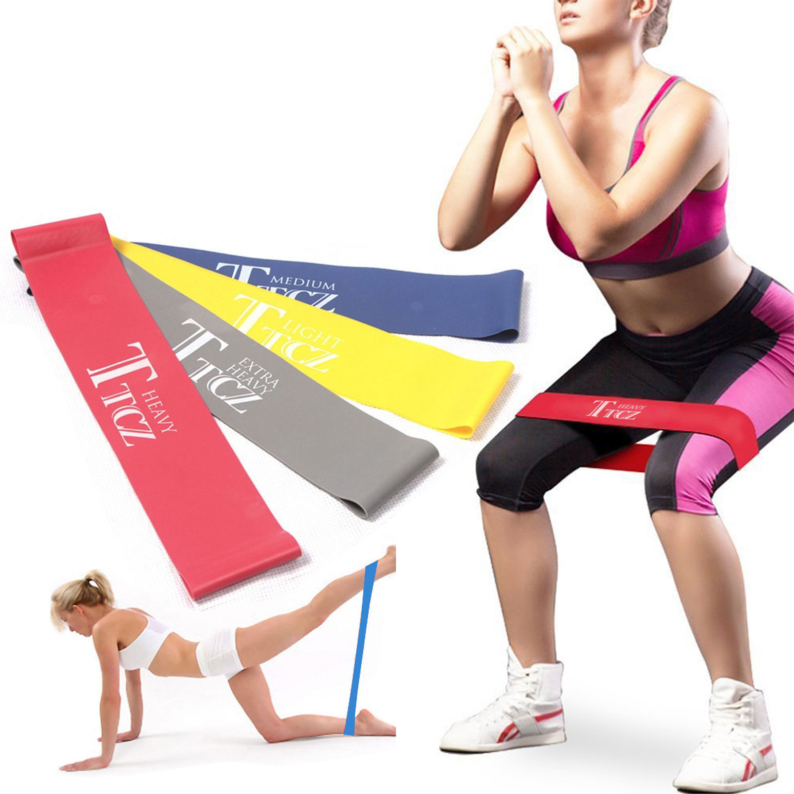 Workout Resistance Bands Loop Set Fitness Yoga Body Exercise Band 4 Color SKY0