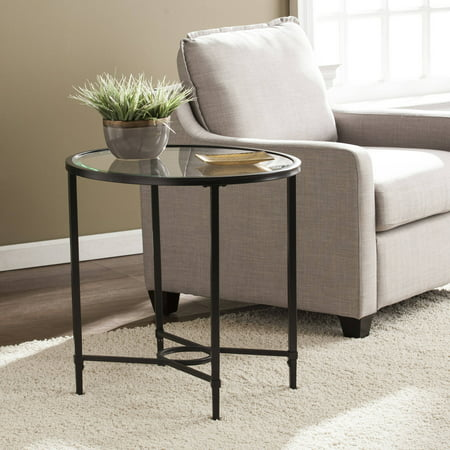 Southern Enterprises Quibilah Metal/Glass Oval Side Table