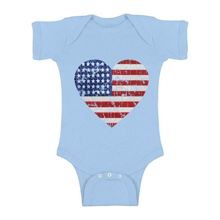 Awkward Styles American Flag Heart Baby Bodysuit Short Sleeve USA Flag One Piece Top for Baby 4th of July Outfit for Baby First 4th of July Independence Day Gifts Cute Patriotic Bodysuit for Newborn