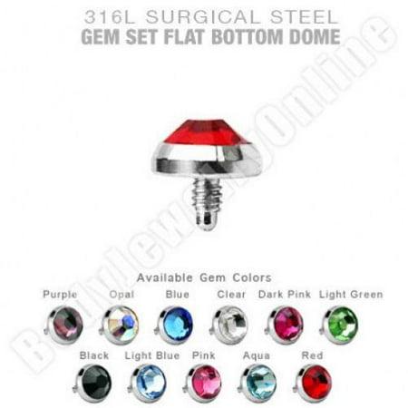 Dermal Anchor Top Body Jewelry 4mm Flat Gem 14g Surgical Steel (Gem Body Jewellery)