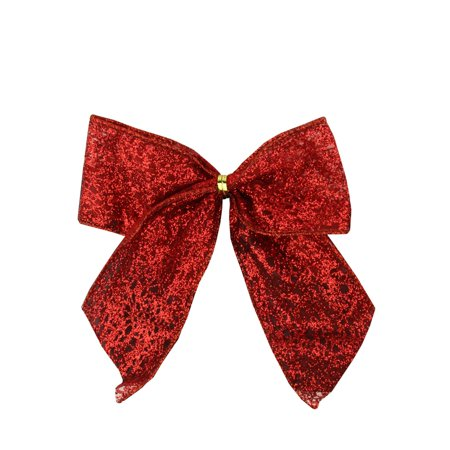 Red Christmas Decorations (Pack of 6 Glittered Red Bow Christmas Decorations 4.5