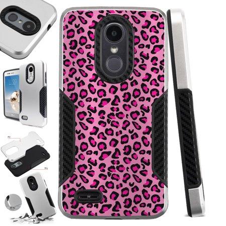 For LG Q7 (2018) | LG Q7 Plus (2018) Case Hybrid TPU Carbon Slim Guard Phone Cover (Pink Leopard Skin)
