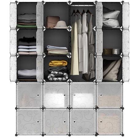 LANGRIA 20-Cube Curly Patterned Black Interlocking Modular Storage Organizer Shelving System Closet Wardrobe Rack with Translucent White Doors for Home Clothes Shoes Toys