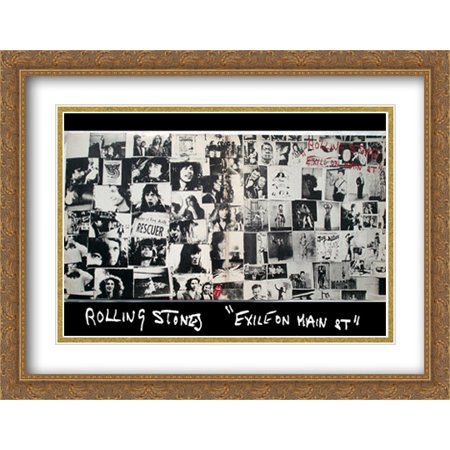 Main Stone - Rolling Stones, exile on main street 2x Matted 40x28 Large Gold Ornate Framed Art Print by Robert Frank
