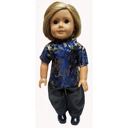 Chinese Style Top With Silk Pants Fits 18 Inch Girl Dolls Like American Girl