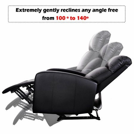 Costway Manual Recliner Chair Lounger PU Leather Sofa Seat Living Room Black - image 5 of 8