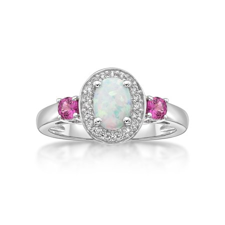 Lab Created Alexandrite Ring - Sterling Silver Oval Lab Created Opal, Pink Sapphire and White Sapphire Ring