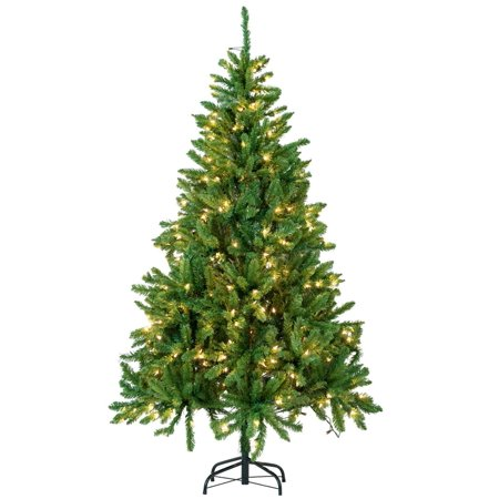 6ft Christmas Tree Artificial Pre-Lit Xmas Full Tree Lighted Party Decor 300 Lights ()