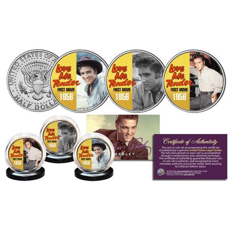 Elvis Presley Love Me Tender Songs Jfk Half Dollar Us 3 Coin Set  Licensed Color