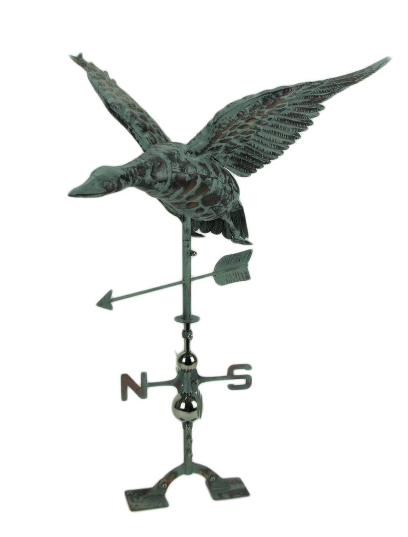 Verdigris Patina Metal Flying Duck Weathervane With Roof Mount Walmart Com Walmart Com