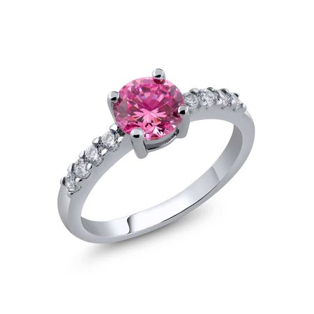 Ring With Round Pink Cubic Zirconia (Available in size 5, 6, 7, 8, 9)
