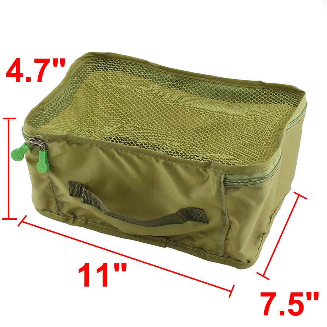Travel Admission Foldable Zipper Closure Package Pouch Mesh Bag Frost Green - image 4 de 5