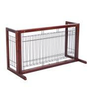Costway Wood Dog Gate Adjustable Indoor Solid Construction Pet ...