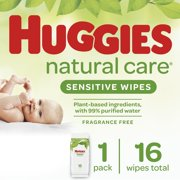 Huggies Natural Care Sensitive Baby Wipes, Unscented, 1 Soft Pack (16 Wipes Total)