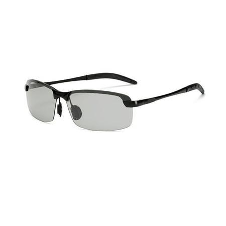 - Discoloration Sun Glasses for Men And Intelligent Photochromic Metal Outdoor Anti-UV Eyeglasses Black