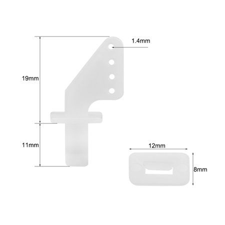 Control Horn with Clips and Screw, 19x17mm Plastic Horns with 4 Holes 1 4mm  for RC Airplane Parts White 20 Sets