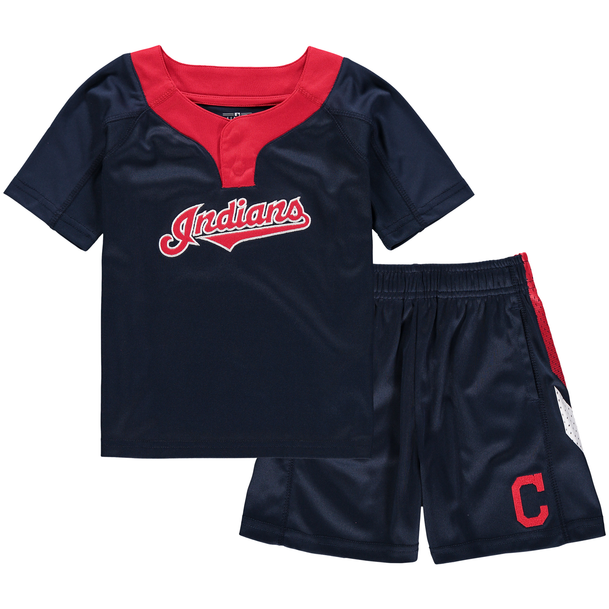 Cleveland Indians Toddler Ground Rules T-Shirt & Shorts Set - Navy/Red
