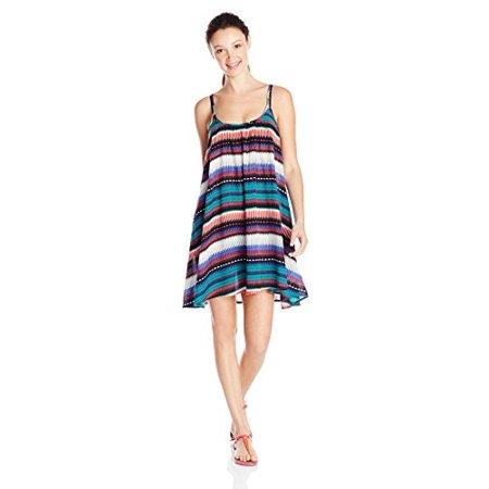 Roxy Junior's Sweet Vida Printed Cover Up Dress, Teal, X-Large