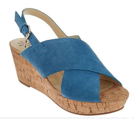 NEW Womens Isaac Mizrahi Maddie Crossband Wedge Sandal Blue Suede Sz 8 M ASO QVC