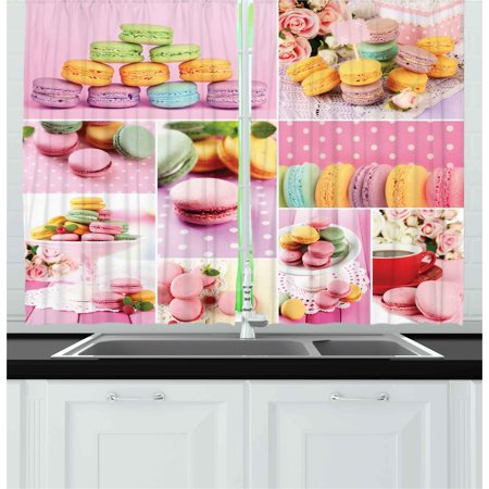 Colorful Curtains 2 Panels Set, Collage of Tasty Macaroons Delicious French Desert Napkins Dots Kitchen Theme, Window Drapes for Living Room Bedroom, 55W X 39L Inches, Multicolor, by Ambesonne - Kitchen Decorating Themes