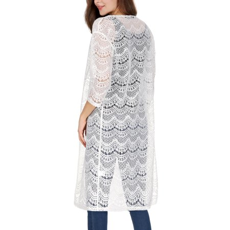 Women 3/4 Sleeves See Through Open Front Lace Cardigan White S - image 5 of 7