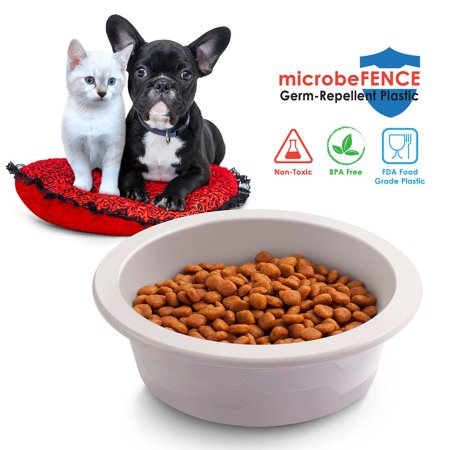 - Dog bowls by Fluffy Paws Made by microbeFENCE Technology Plastic (BPA Free) - Gray (Dimension 8.46
