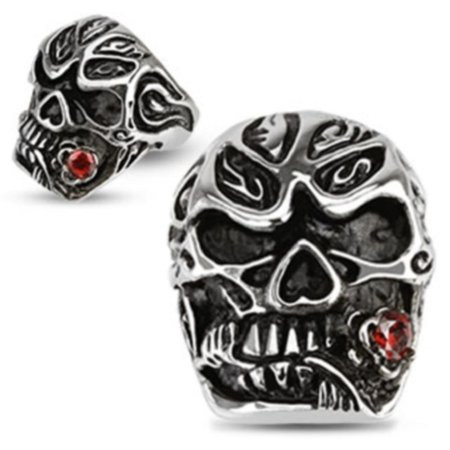 Halloween Mens Stainless Steel Red CZ Rose Flower Tango Salsa Skull Ring Sz - Mens Skull Rings