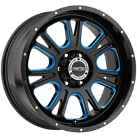 "Vision 399 Fury 17x8.5 6x5.5"" +25mm Black/Milled/Blue Wheel Rim 17"" Inch"