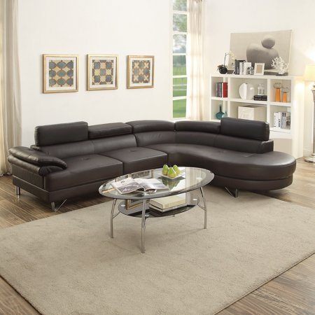 Contemporary Beautiful 2pcs Sectional Sofa Chaise Espresso Faux Leather  Chrome Legs Flip up Headrest Living Room Furniture