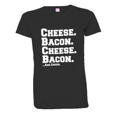 PleaseMeTees™ Womens Cheese and Bacon Grease I Love Pizza HQ Tee
