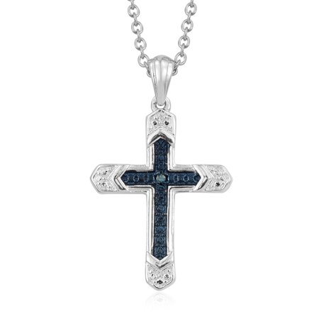 Round Blue Diamond Cross Chain Pendant Necklace for Women 20