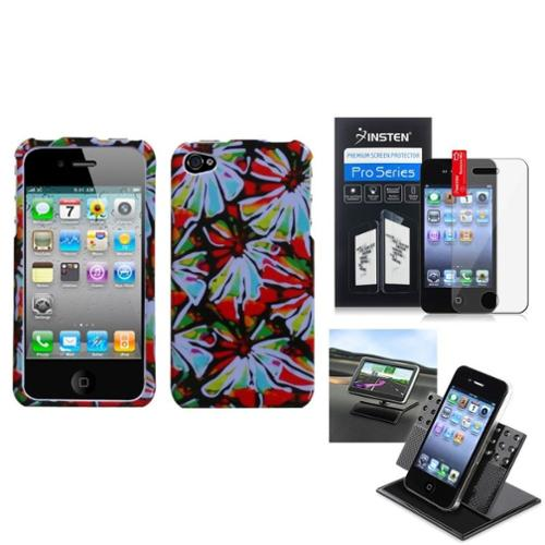 Insten Film Holder Flower Power Phone Case Cover For APPLE iPhone 4S/4